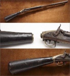 Vue démontée de la carabine Lewis et Clark's